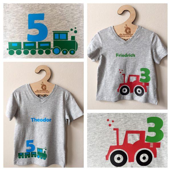 Geburtstagsshirt mit Trekker, Traktor, Eisenbahn, Lokomotive, geplottet, Plott